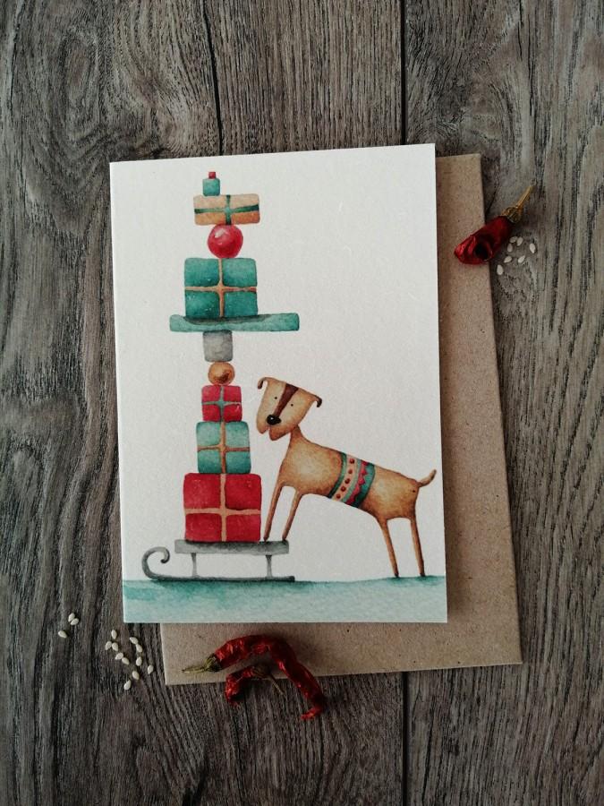Kalėdinis atvirukas DOVANOS + vokas