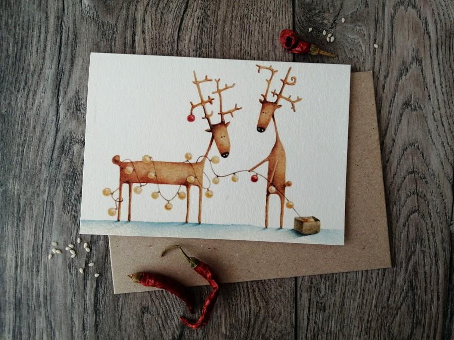 Kalėdinis atvirukas LEMPUTĖS + vokas